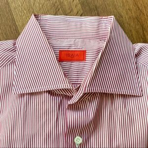 Isaia Red & White Striped Dress Shirt